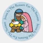 Child Like Manger / Jesus Reason Round Sticker