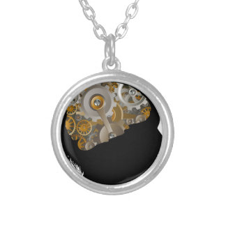 Child Machine Workings Gears Cogs Brain Silver Plated Necklace