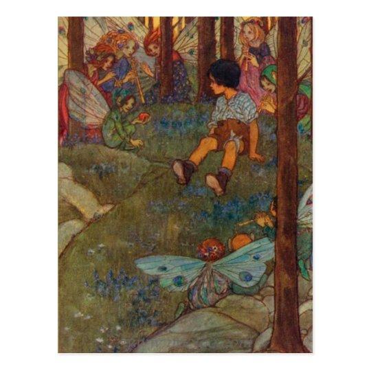 Child Meets Woodland Fairies, Postcard