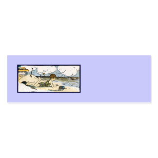 Child on Beach Vintage Art Pack Of Skinny Business Cards