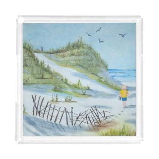 child on beach watercolor acrylic tray
