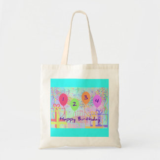 Child or Kid Birthday Four Years Happy Birthday Tote Bags
