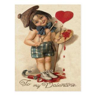 Child Paint Heart Painter Brush Palette Postcard