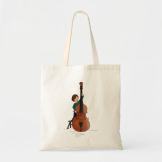 Child playing double bass tote bag