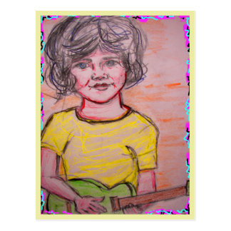 child playing toy electric guitar postcard