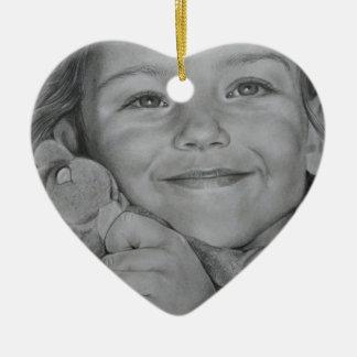 Child portrait ceramic heart decoration