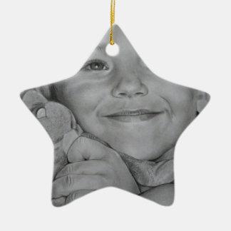 Child portrait ceramic star decoration