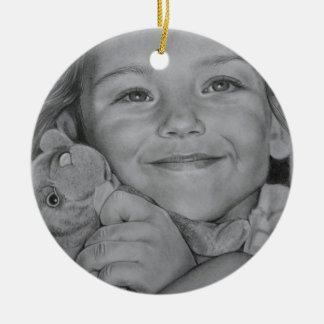 Child portrait round ceramic decoration