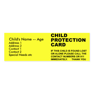 Child Protection Card (2) Pack Of Skinny Business Cards