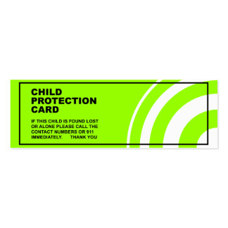 Child Protection / Safety Pack Of Skinny Business Cards