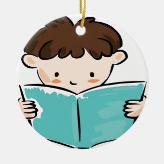 Child reading a book round ceramic decoration