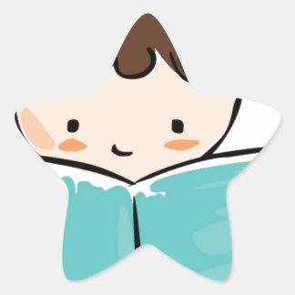 Child reading a book star sticker