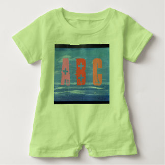 Child Romper blue design with colored text. Baby Bodysuit