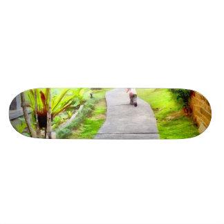 Child running on track skateboard deck