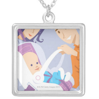 Child Safety Seat Silver Plated Necklace