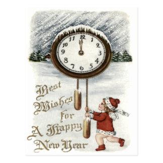 Child Snow Winter Clock New Year Postcard