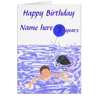 Child Swimmer birthday card add age name