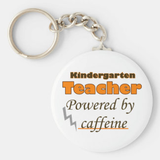child terrible ears Teacher Powered by caffeine Basic Round Button Key Ring