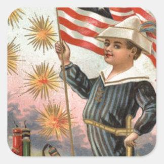 Child US Flag Fireworks Firecracker Explosion Square Sticker