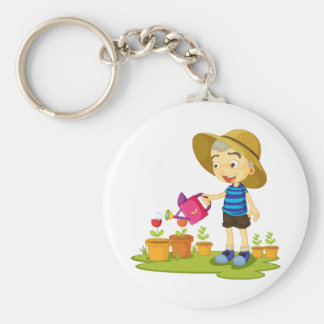 Child Watering Plants Keychain
