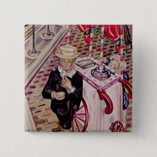 Child with an Ice Cream 15 Cm Square Badge