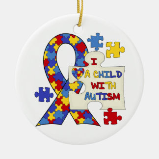 Child With Autism Awareness Ribbon Christmas Ornament