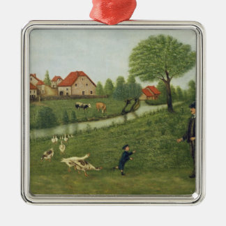 Child with Geese Silver-Colored Square Decoration