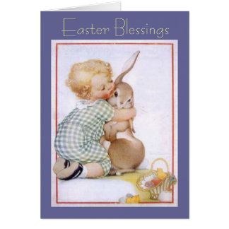'Child With His Bunny' Easter Card