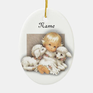 Child with lamb christmas ornament