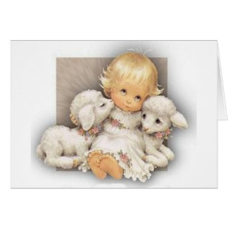 Child with lambs greeting card