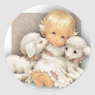 Child with lambs classic round sticker