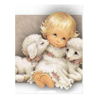 Child with lambs postcard