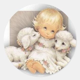 Child with lambs round sticker