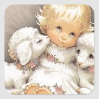 Child with lambs square sticker