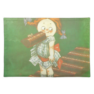 Child with large chocolate bAR French vintage ads Placemats