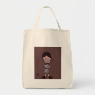 CHILD WITH LARGE HEAD AND BIG FEET GROCERY TOTE BAG