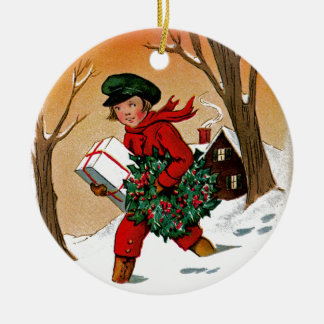 Child with Presents Christmas Ornament