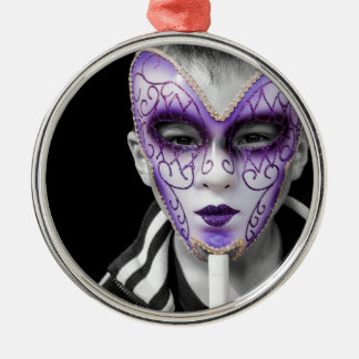 Child with Purple Ceramic Mask Christmas Ornament
