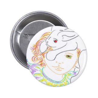 Child with Rabbit 6 Cm Round Badge