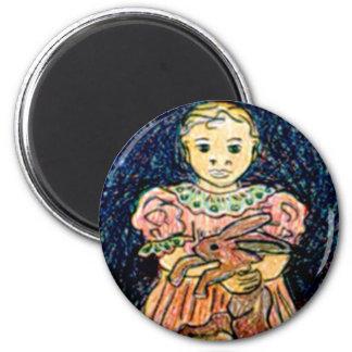 Child with Rabbit 6 Cm Round Magnet