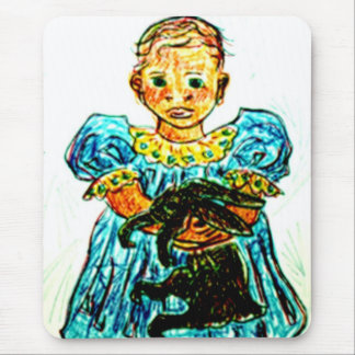 Child with Rabbit Mouse Pad