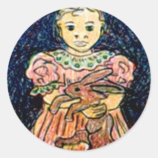 Child with Rabbit Round Sticker