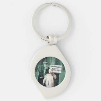 Child with Santa During Great Depression Silver-Colored Swirl Key Ring