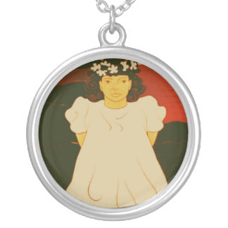 Child with Wreath Round Pendant Necklace