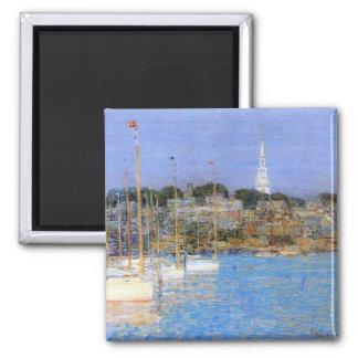 Childe Hassam - Cat Boats Newport Square Magnet