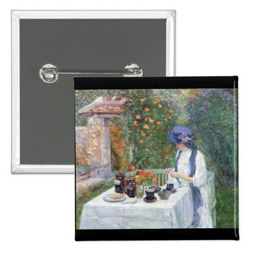 Childe Hassam - The Terre-Cuits Tea Set 15 Cm Square Badge