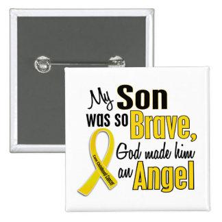 Childhood Cancer ANGEL 1 Son 15 Cm Square Badge