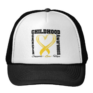 Childhood Cancer Awareness Brushed Heart Ribbon Cap