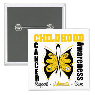 Childhood Cancer Awareness Butterfly 15 Cm Square Badge