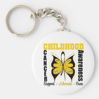 Childhood Cancer Awareness Butterfly Basic Round Button Key Ring